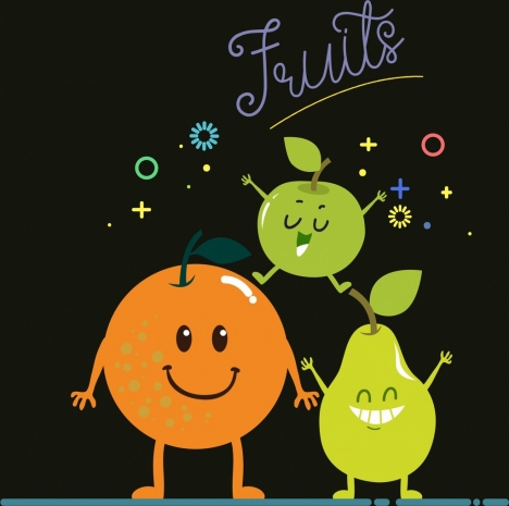 fruits banner cute stylized pears apple orange icons