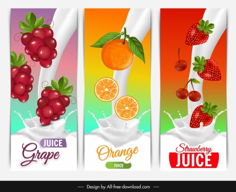 fruits juice milk advertising grape orange strawberry sketch