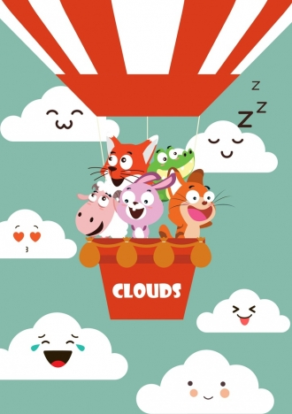 funny animals drawing stylized clouds icons colored cartoon