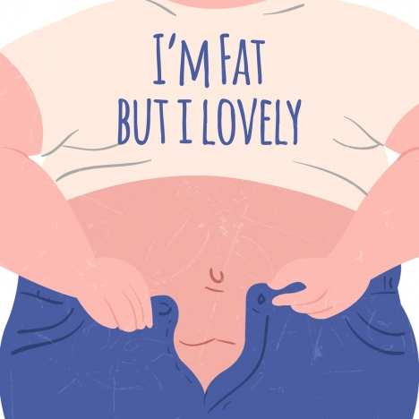 funny diet banner fat human icon colored cartoon