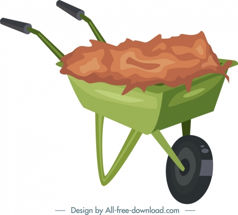 gardening background wheelbarrow icon colorful 3d design