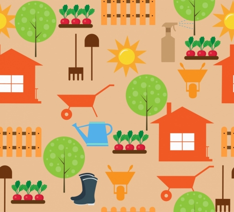 gardening icons design elements colored flat repeating style