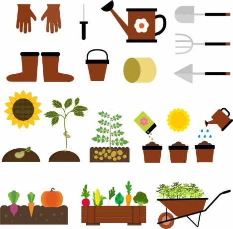 gardening icons isolation with various tools and vegetables