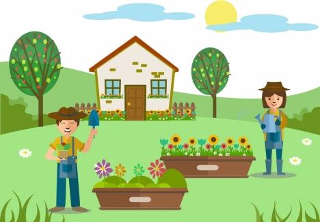 gardening theme design human tools outdoor activities decoration