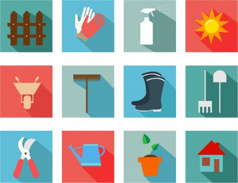 gardening tools icons collection flat colored isolation