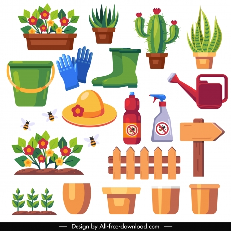 gardening work design elements colorful flat symbols sketch