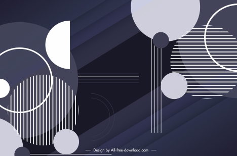 geometric background dark flat circles stripes design
