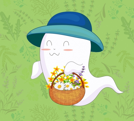 ghost background cute cartoon character flowers decor