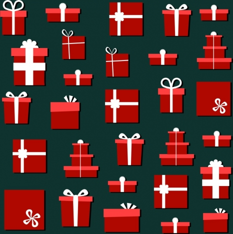 gift boxes icons background various red symbols decoration