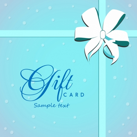 gift card cover background bright blue ribbon ornament