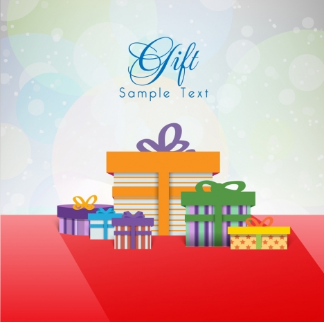 Gift Card Template Bokeh Background Present Boxes Icons Vectors