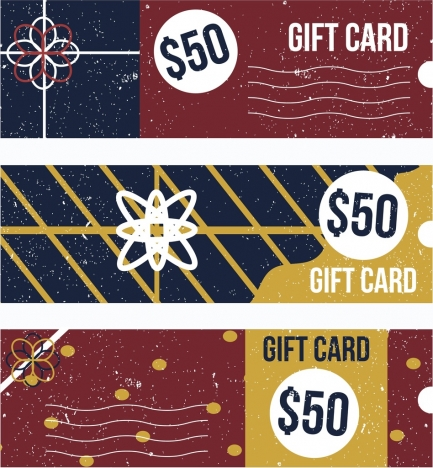 gift card templates horizontal classical grunge decor