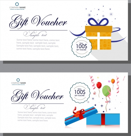 gift voucher templates calligraphy balloons present boxes ornament