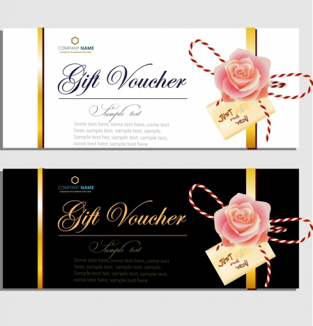 Gift voucher templates elegant design rose icon decor vectors stock ...