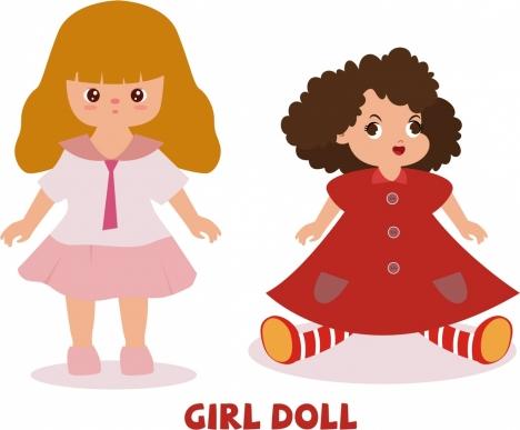 girl doll icons cute colored cartoon design