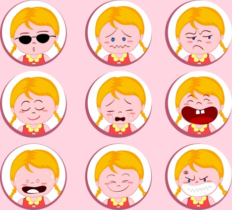 girl emotional icons collection cute colored cartoon design