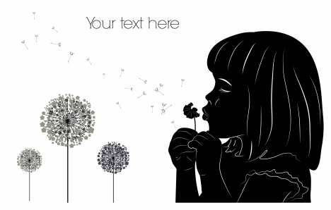 girl with dandelion drawing with silhouette style