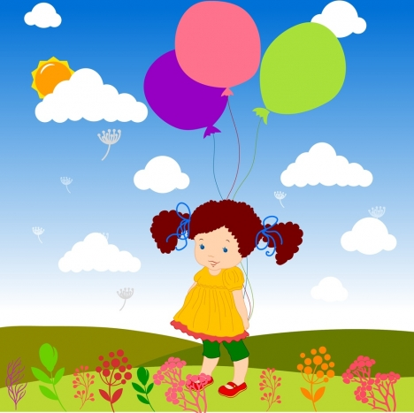 girls balloons background colorful cartoon drawing