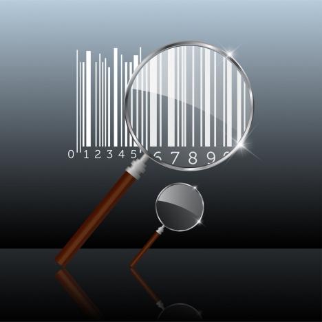 glass magnifier sets bar codes shiny metallic icons