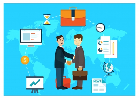 global business infographic illustration with businessmen shaking hands
