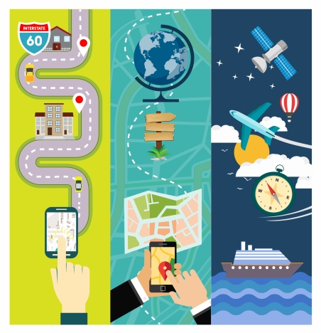 global location application vector illustration in various styles
