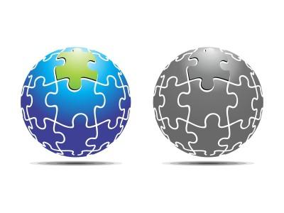 Globe in puzzle