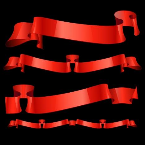 glossy red ribbon banner set