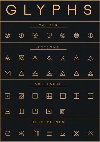 glyphs design elements flat geometric icons