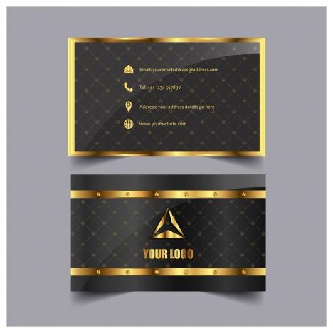 golden frame card design with black background