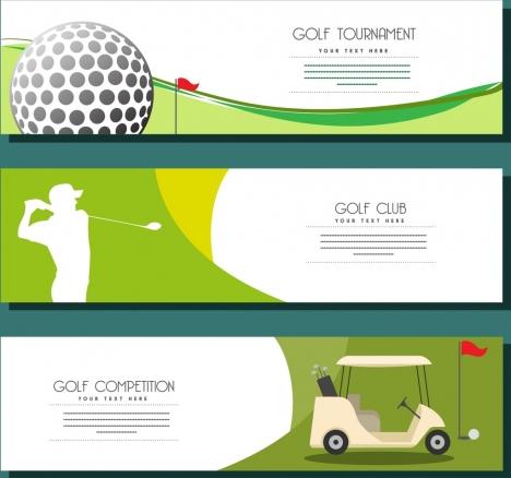 golf advertisement sets horizontal design various symbols decor