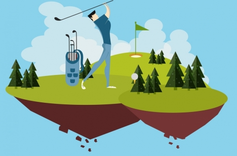 golf background floating course decoration player icon