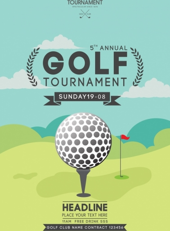 golf tournament banner ball icon colored course background