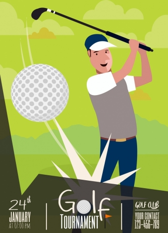 golf tournament banner player ball icon green design