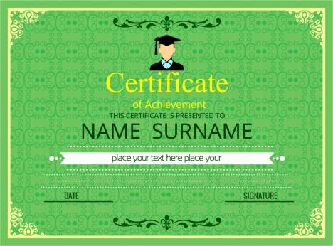 graduation certificate vignette style in green