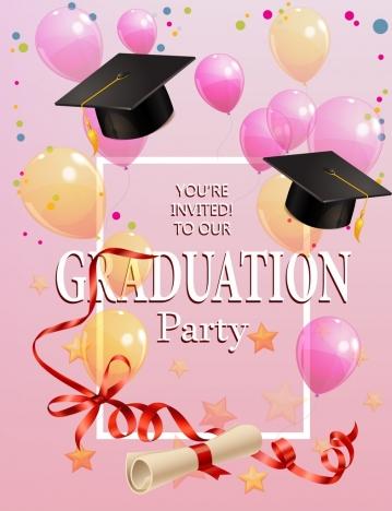 graduation party invitation template colorful balloon icons decor