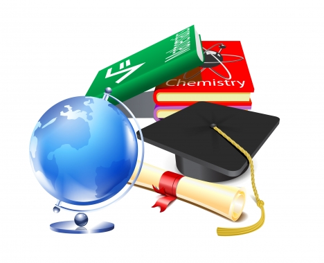 graduation vector illustration with books and terrestrial earth