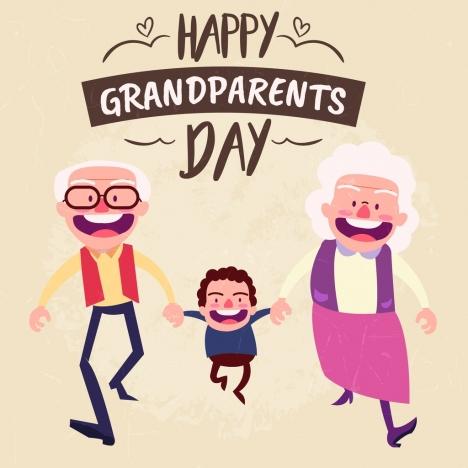 grandparents day banner happy human icons cartoon design