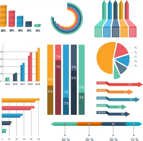 graph design elements various multicolored shapes