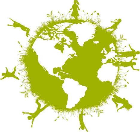 green earth concept joyful human on sphere design