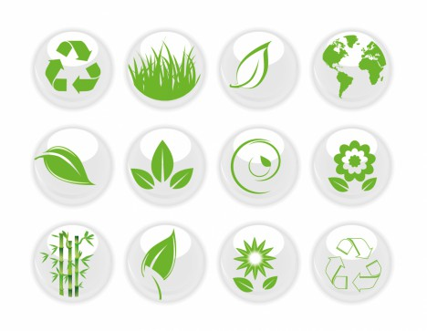 Green Nature on White icons