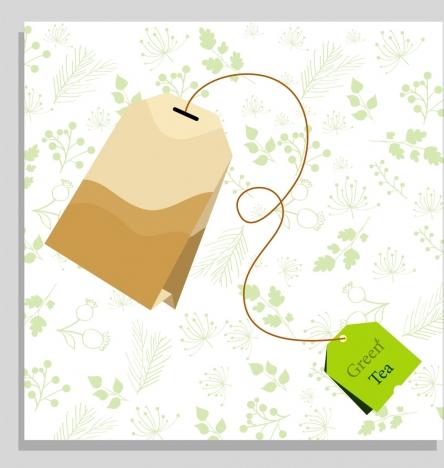 green tea filter bag icon 3d colored design