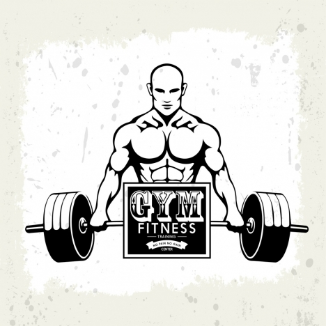 gym fitness logotype athlete weight icon retro design