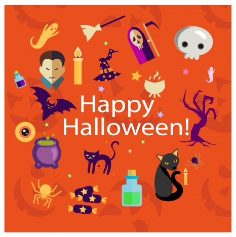 halloween background template illustration with horror elements