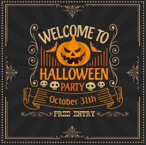 halloween banner classical dark decor pumpkin skull icons