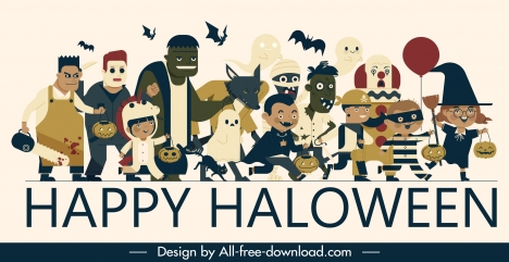 Halloween banner funny horror costumes characters sketch vectors