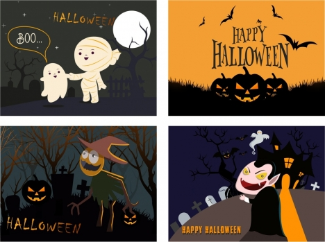 halloween banner sets ghost evil pumpkin tombs icons