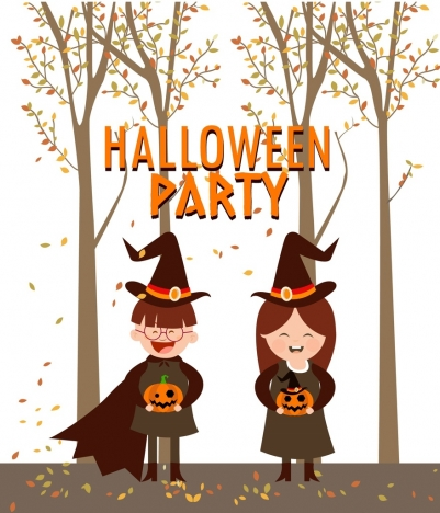 halloween party background cute kid icons