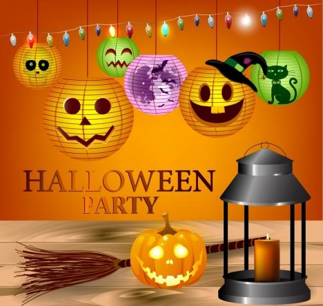 halloween party banner bright pumpkin lanterns decoration