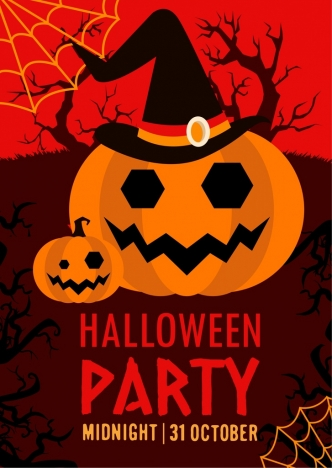 halloween party banner dark design horror pumpkin icons