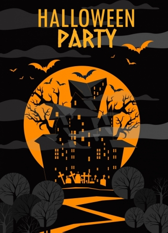 halloween party banner yellow moonlight scary castle icons